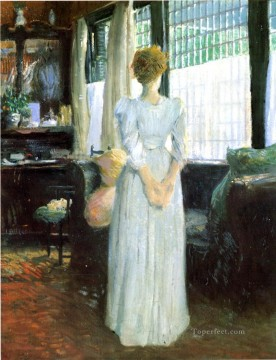Julian Alden Weir Painting - In the Livingroom Julian Alden Weir